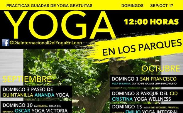 Cartel de Yoga en el parques.-