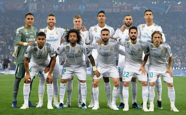 Once del Real Madrid en la final ante el Liverpool disputada en Kiev.