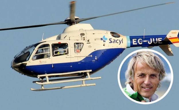 Jesús Calleja ha sido trasladado al Hospital de León en el helicóptero de Emergencias Sacyl./
