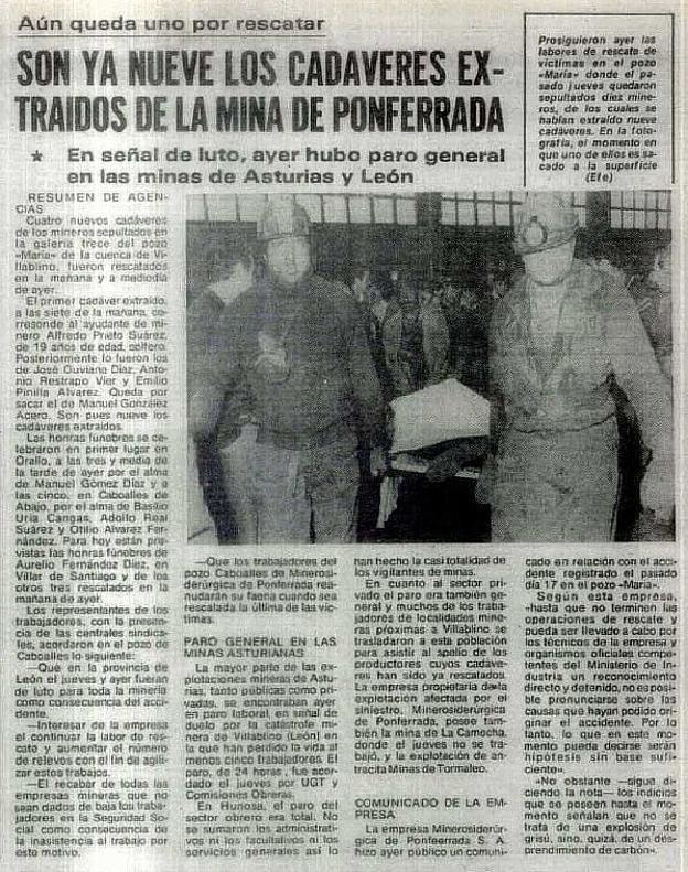 Recorte de prensa del diario 'El Correo' sobre el accidente ocurrido en el Pozo María.
