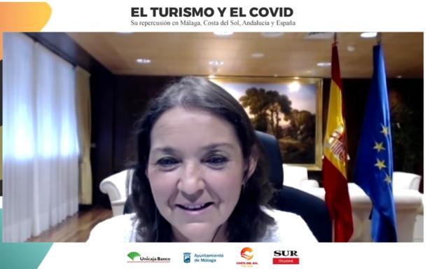 La ministra de Turismo, Reyes Maroto, durante su intervención en el foro.