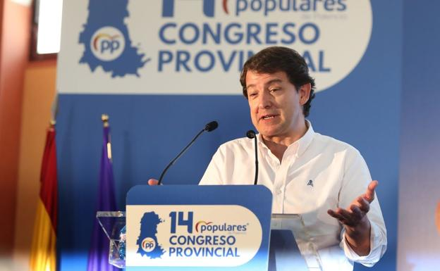 Alfonso Fernández Mañueco during his speech at the PP Provincial Congress in Palencia.